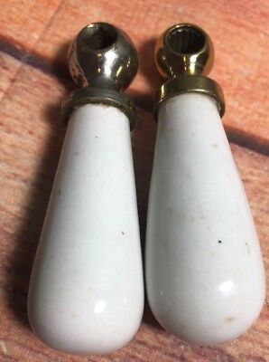 "Vintage Metal & Porcelain Unmarked Water Faucet Pair  3"" Handle Lever Sink 9A"