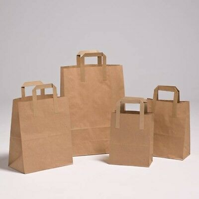 10 50 100 Brown Kraft Paper SOS Food Carrier Bag With Handles All Size Available