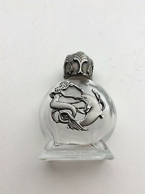 Silver Tone Pewter Trim On Glass Mermaid And A Dolphin, Perfume Bottle