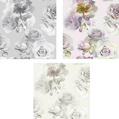 Arthouse Floral Bloom Grey Silver Pink Champagne Floral Flowers Wallpaper Rose