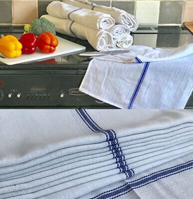 Pack Of 10 Tea Towel 100% Cotton For Catering Kitchen Restaurant Glass Cloths
