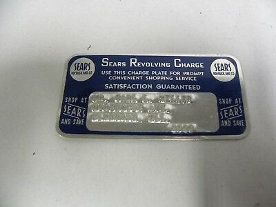 Vintage Sears Roebuck Metal Revolving Charge Plate Credit Card (A10)