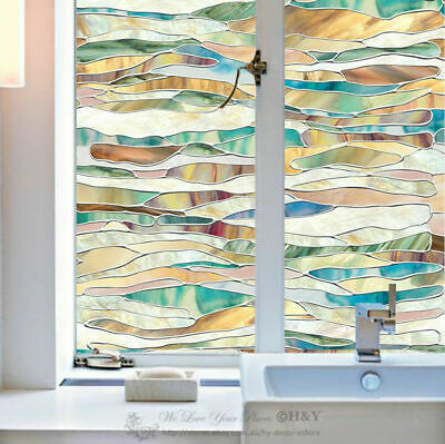 Abstract Colour Window Film Print Sticker Cling Stained Glass UV Block Gift Deco