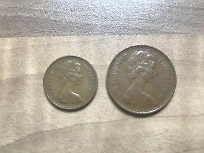 VERY RARE 2p new pence and 1p new penny, both 1971 pair of collectible coins