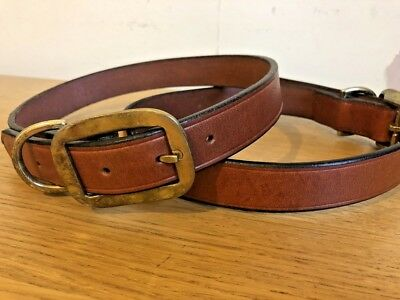 Genuine Leather Dog Collar Brown 75cm REAL LEATHER - UK SELLER