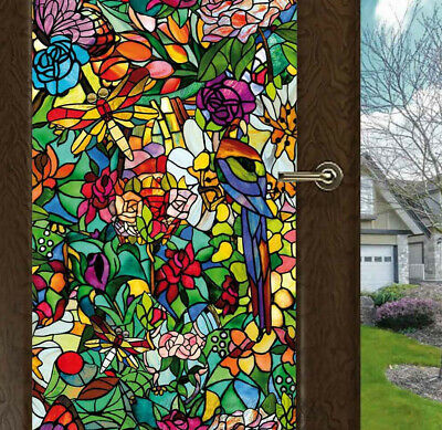 Flower Blossom Chapel Window Film Sticker Cling Stained Glass Decor UV Block DIY