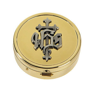 IHS Pyx Embossed (B3421) Solid Brass NEW Gold Plated Catholic Holds 8 Hosts