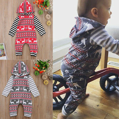 UK Christmas Toddler Kids Baby Girl Boys Hoodie Bodysuit Romper Clothes Outfit