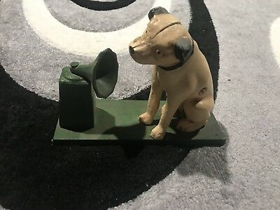 Vintage Cast Iron Painted Bank RCA Nipper Dog Listening to Victrola