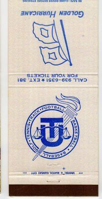 Golden Hurricane Club Matchbook Cover