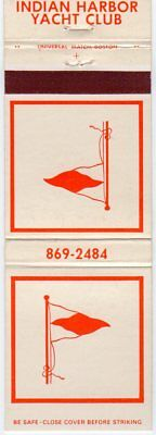 Indiana Harbor Yacht Club Orange Matchbook Cover