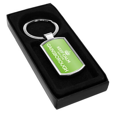 GREEN Keep Calm and Love Harpenden Metal Keyring 0728