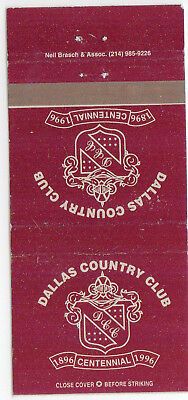 Dallas Country Club Centenial Matchbook Cover 1996