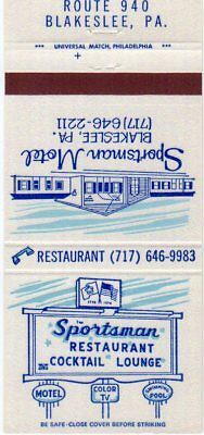 Sportsman Motel, Blakeslee, PA Matchbook Cover