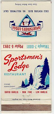 Sportsman's Lodge Restaurant, Hollywood Matchbook Cover pre 1960