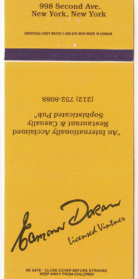 Eamonn Doran Licensed Vintner, New York, NY Matchbook Cover