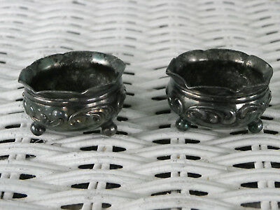 Pair of Vtg Or Antique 3-Leg Individual Silverplate Salt Cellars-Rogers & Bro