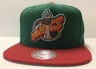 quality design ccf55 310fd Seattle SuperSonics Mitchell   Ness NBA Snapback Hat XL Logo 2Tone Cap  Sonics