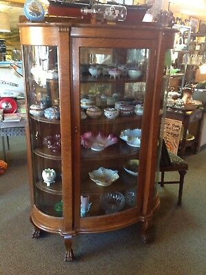 Antique Large Oak Curved Glass Claw Feet 5 Shelf China Curio Cabinet Bookcase