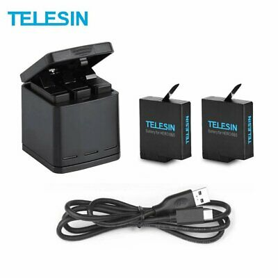 TELESIN 3 Slot Battery Charger+2pcs Battery+Type C Cable for GoPro Hero 7 Camera