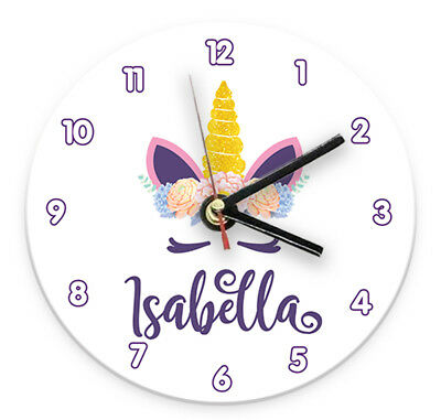 Personalised Any Name Unicorn Wall Clock Printed Gift Present Kids Bedroom
