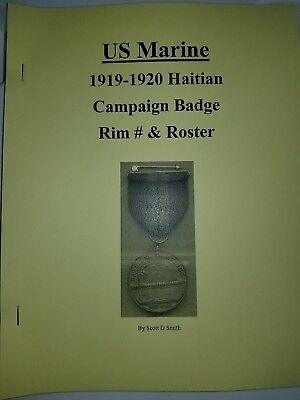 USMC 1919-1920 Haitian Campaign Medal Listing & History Rim #s Traced to Marine
