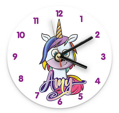 Personalised Any Name Unicorn Wall Clock Printed Gift Present Kids Bedroom 4