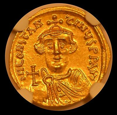 Byzantine Empire Gold Solidus - Constans II, AD 641-668, NGC MS* STAR