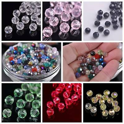 Hotsale 50pcs 6mm Round Faceted Glass Loose Spacer Beads DIY Jewelry Findings