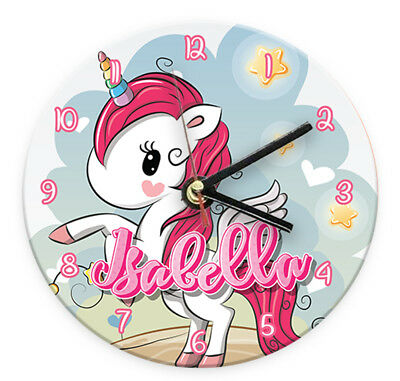 Personalised Any Name Unicorn Wall Clock Printed Gift Present Kids Bedroom 6