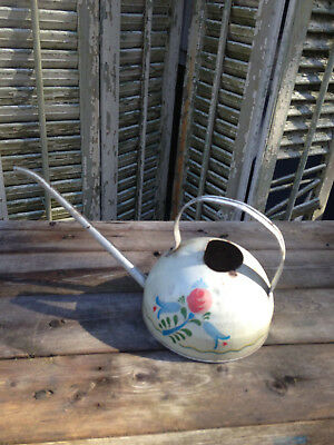 Vintage Ohio Art Metal Tin Long Spout Watering Can Floral Made In Usa Succlents