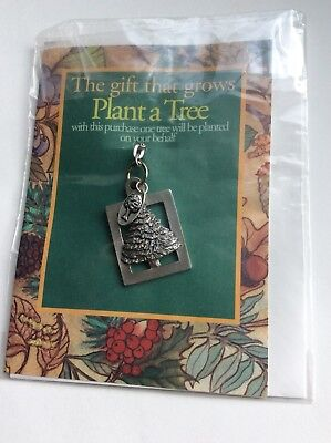 "Vintage Seagull Pewter Christmas,  ""Plant A Tree""   Keychain"