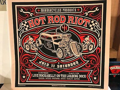 "Murdercycles Numbered 15/200 Hot Rod Riot, Manchester, Ct Poster 24.5"" X 23"""