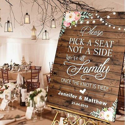 Personalised Wedding Pick a Seat not a Side Sign  A1 / A2 / A3 Sizes