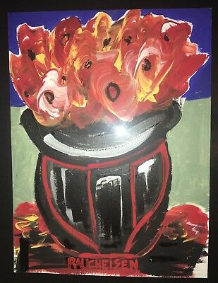 Michael RAUCHEISEN mixed media acrylic painting peter max FLOWERS for YOU framed