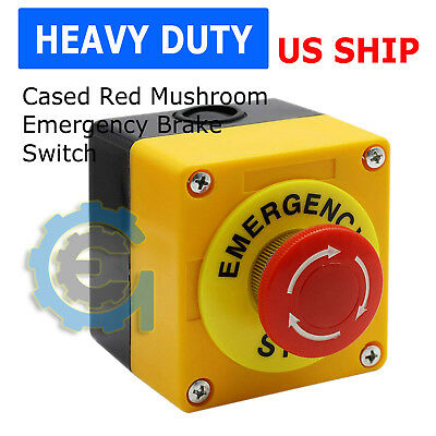 Red Mushroom Emergency Stop Shut Off Push Button Switch NO + NC 22mm CNC Gecko