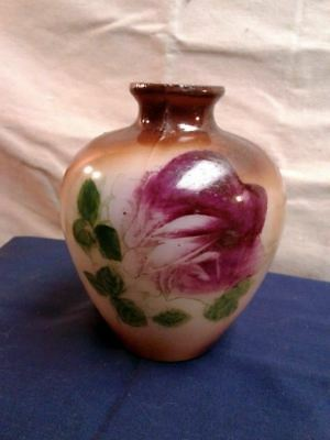 Red Rose Milk Glass Vase HAND PAINTED Small Vintage