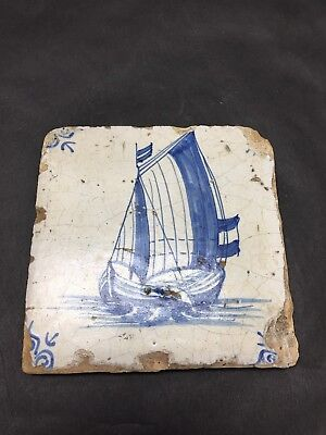 Early Antique Dutch Delft Ship Tile 17th Century
