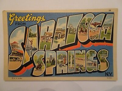 Saratoga Springs NY (linen) Greetings from Saratoga Springs