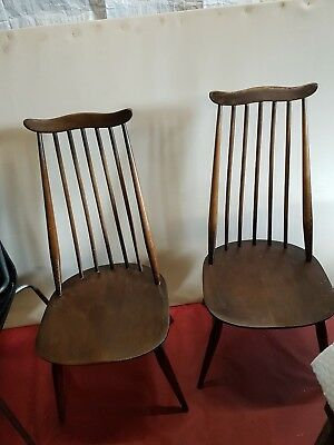Vintage Ercol Windsor Goldsmith Chairs x2. 1960s