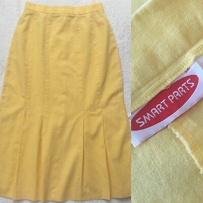 Vintage Butter YELLOW *Size 11* Smart Parts Linen Maxi Box Pleated Skirt