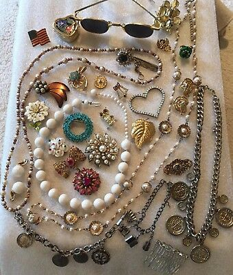 VTG ANTIQUE GRANDMAS ESTATE JEWELRY JUNK DRAWER LOT Trifari Haskell W Germany