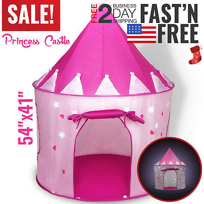 Kids Play Tent Teepee Toddler Indoor Girls Play House Pop-up Princess Castle