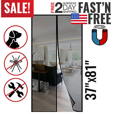 Magnetic Screen Door Magic Instant Mesh Screen Walk Through Fly Bug Off Curtain