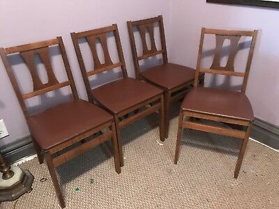 Mid Century Wooden Stakmore Folding Chairs Set Of 4 Vtg Nice & Clean