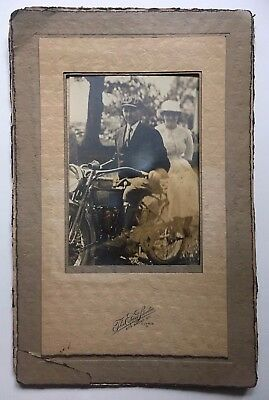 EARLY 1900s HARLEY DAVIDSON MOTORCYCLE ANTIQUE PHOTO
