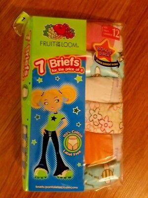 Fruit of The Loom Girl Briefs, 7 pack, (Size 12 only)