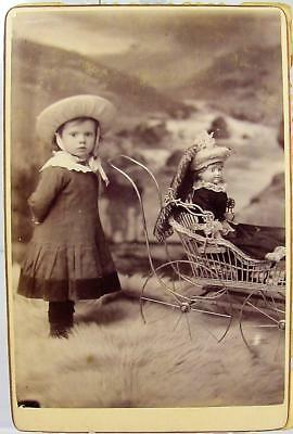 1880s LITTLE GIRL WITH HER BABY CARRIAGE & PORCELAIN DOLL