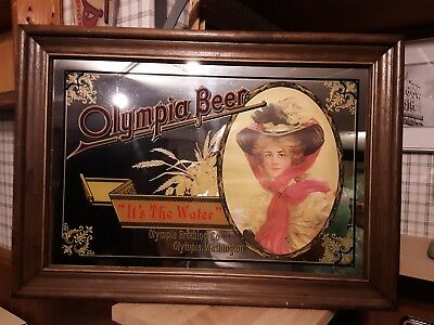 (VTG) Olympia Beer Back Bar Wood Frame Mirror Sign With Water & Girl Washington
