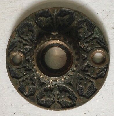 Vintage Eastlake Victorian Solid Brass Door Bell Plate Cover  1/2 Inch Opening